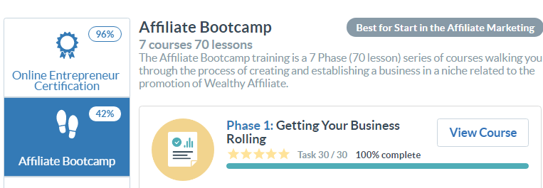 Wealthy Affiliate Bootcamp Training