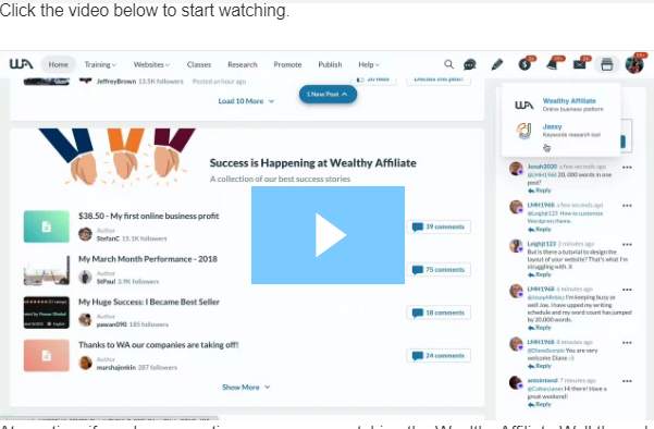 Wealthy Affiliate Video Walkthrough