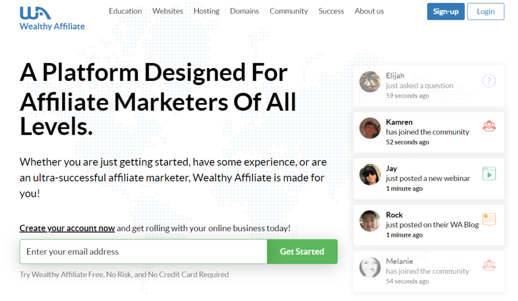 Wealthy Affiliate Sign Up - Get started here