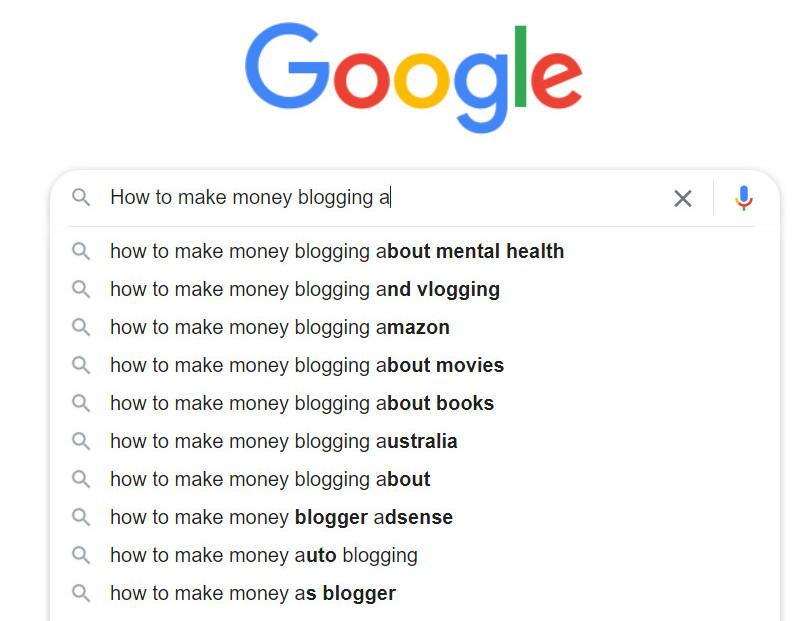 Generating blog topics through Google auto-suggest